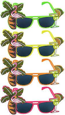 Hawaiian Flamingo Glasses Sunglasses Neon Tropical Beach BBQ Fancy Dress Party
