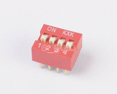 10pcs DIP 2.54mm Pitch 8 pins 4 Positions Ways Slide Type Switch Red