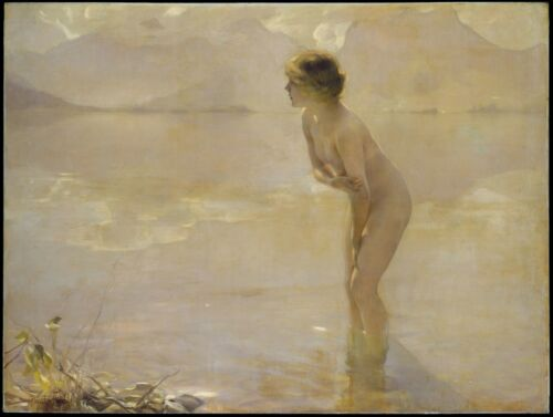 antique decor September Morn 20x16 Art Print Paul Chabas Beautiful nude girl