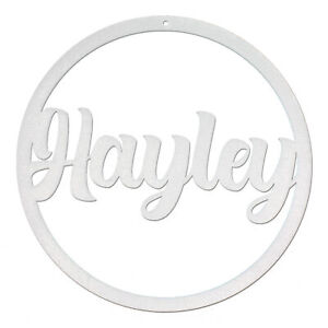Personalised Name Hoop With Hole 3mm Silver MDF Wood Circle Nursery Wall Sign