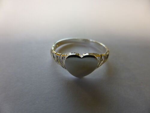 sterling silver CHILDRENS LADIES fancy heart signet ring