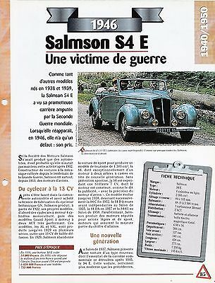 Competente Voiture Salmson S4 E - Fiche Technique Automobile 1946 Collection Car