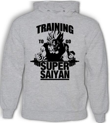 Mens Hoodie Dragon Ball Z Gym Bodybuilding Goku Training To Go Super Saiyan