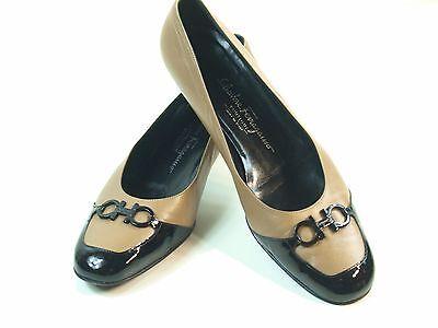 SALVATORE FERRAGAMO Women's Camel and Black Leather Loafers Mini Wedge Size 8.5