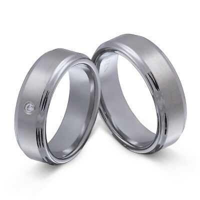 2 Hochzeitsringe Aus Wolframcarbid Zirkonia Inkl.gratis Lasergravur - Law2hd Ohne RüCkgabe