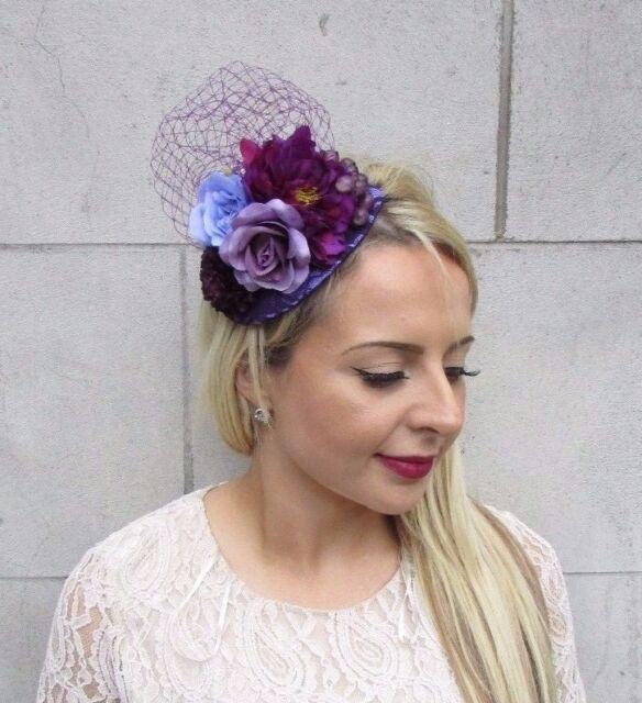 Dark Purple Lilac Rose Flower Fascinator Net Hair Headband Wedding Races  3737 67367427c97