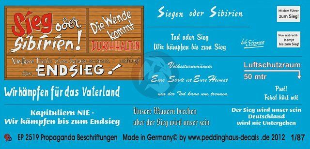 Peddinghaus 1//87 3088 HO German Wartime Wall Posters WWII Decal 20 posters