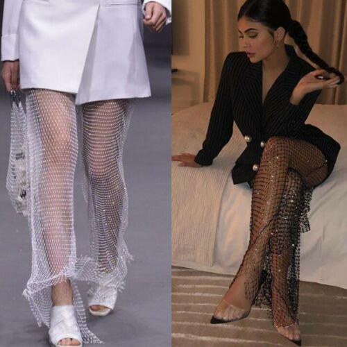 Women Diamante trousers Fishnet Palazzo Body Jewelry Beach Holiday Pool Party UK