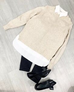 Ralph-Lauren-Jumper-Shirt-Collar-Sz-Medium-Long-Sleeve-Jumper-Shirt-Beige