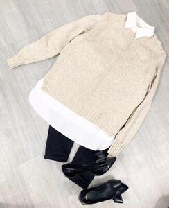 Ralph-Lauren-Jumper-Shirt-Collar-Sz-Medium-Long-Sleeve-Jumper-Shirt-Beige