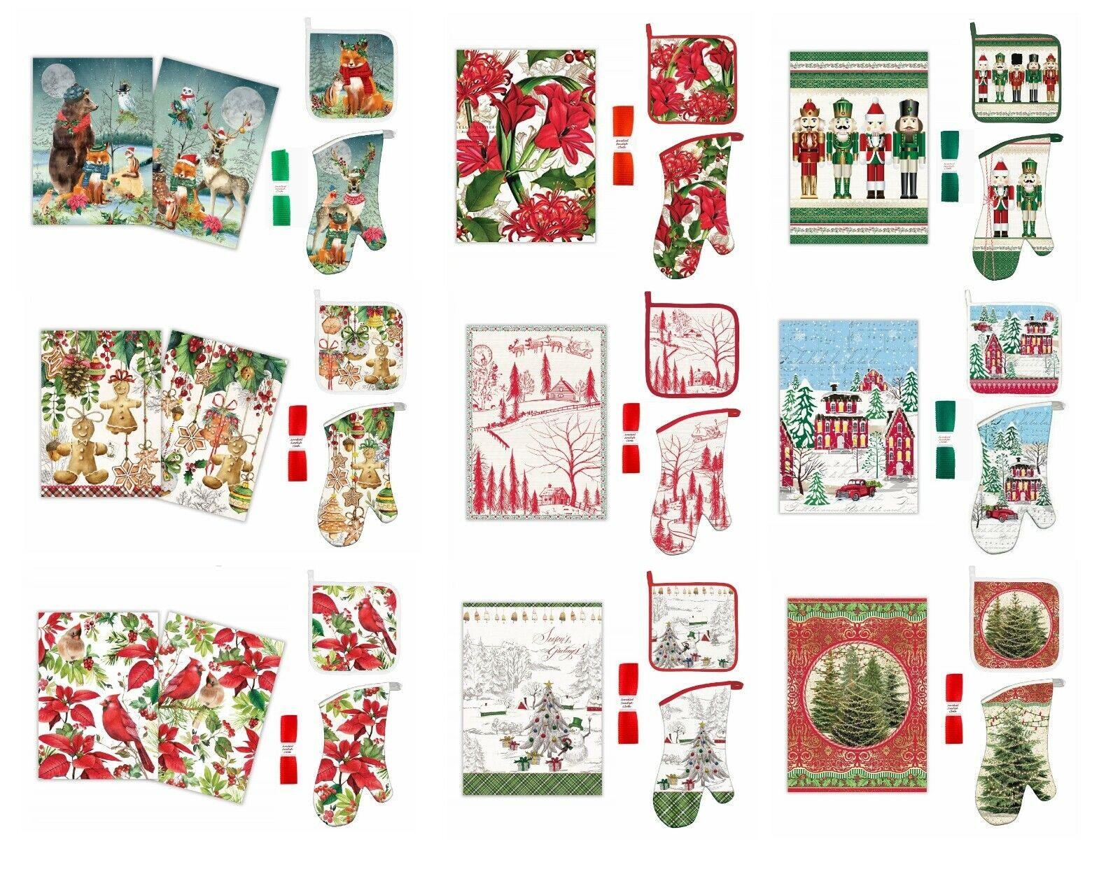 "Christmas Michel Design Works /""SANTA/'S EVE/"" Holiday Potholder Red White"