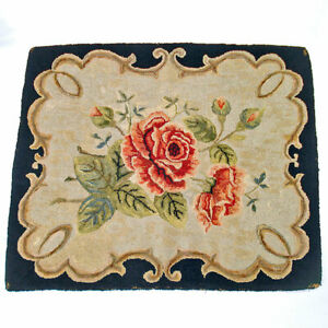 Spray of Roses 1930s Hand Hooked Rug 25 by 30 Inches