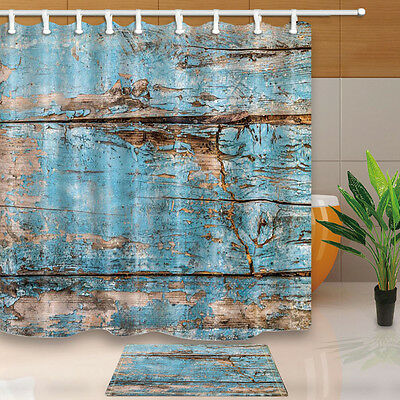 Turquoise Wood Waterproof Polyester-Fabric Shower Curtain /& Bath Mat 180*180cm