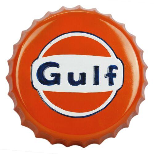 Gulf Oil Bottle Cap  Tin Metal Sign Plaque Retro Wall Decor  Petroliana Club