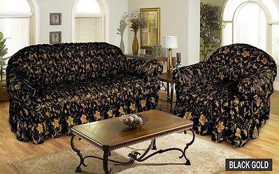 Black Gold Sofa Cover Settee Slip