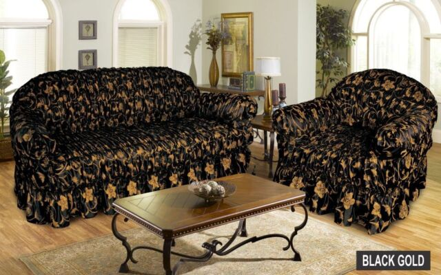 Awesome Jacquard BLACK GOLD Sofa Cover Settee Slip Cover   1 , 2 , 3 Seater