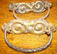2 Vtg Antique Soft Brass Victorian Drawer Pull Handles Ornate Detailed 1800's