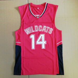 Troy-Bolton-14-East-High-School-Wildcats-Basketball-Jersey-Stitched-Red