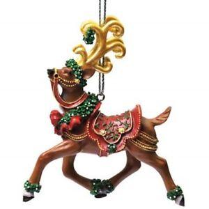 Westland-Giftware-Reindeer-Christmas-Ornament-Mistletoe-Tin-Decoration-Green-Red