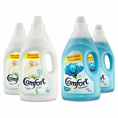 Comfort Fabric Conditioner Long Lasting Softener Pure/Blue Skies - 2pk (4Litre)