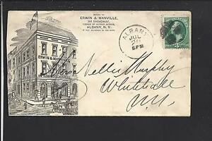 ALBANY, NEW YORK 3CT BANKNOTE COVER,LARGE ILLUST ADVT. ERWIN &MANVILLE, TOBACCO.