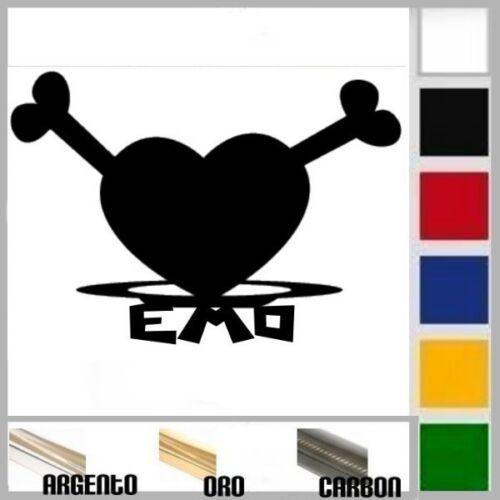 adesivo sticker EMO HEART  prespaziato auto,moto,casco 14 x 10 cm