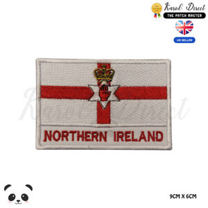 NORTHERN-IRELAND-National-Flag-With-Name-Embroidered-Iron-On-Sew-On-Patch-Badge