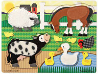 Melissa & Doug FARMYARD WOODEN TOUCH AND FEEL PUZZLE/JIGSAW Baby/Toddler Toy BN