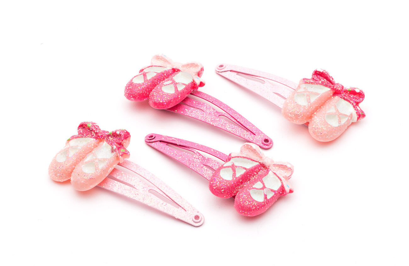 4 Pack Of Girls Dance Ballet Shoes Hair Clips Slides By Katz Gifts HA-02 Present