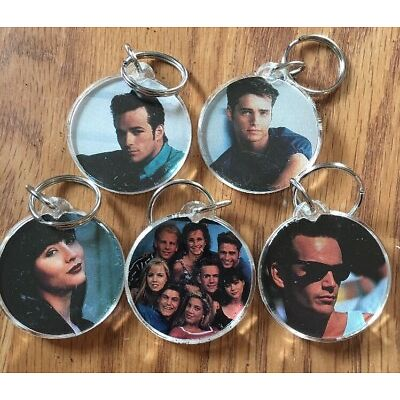 Vintage 90210 Tv Show Cast Key Chain Set Of 5 Rare Full Cast Picture Double Side