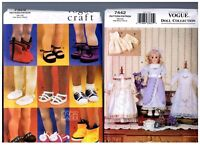 Vogue 7442 Heirloom Dress Clothes & 7329 Doll Shoes Patterns 18 American Girl