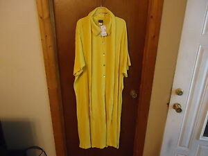 Womens-Lane-Bryant-Size-32-W-Yellow-Button-Down-Gown-Robe-With-Wrap-Around