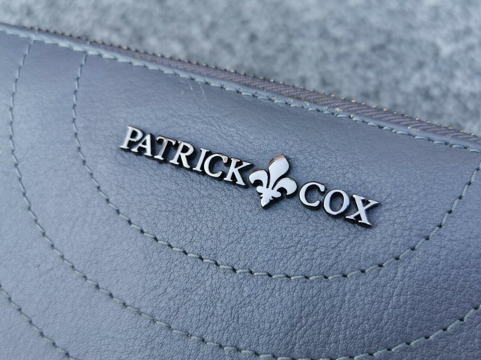 Patrick Cox Grey Leather Clutch Purse Zip Around Money Card Smartphone Passport