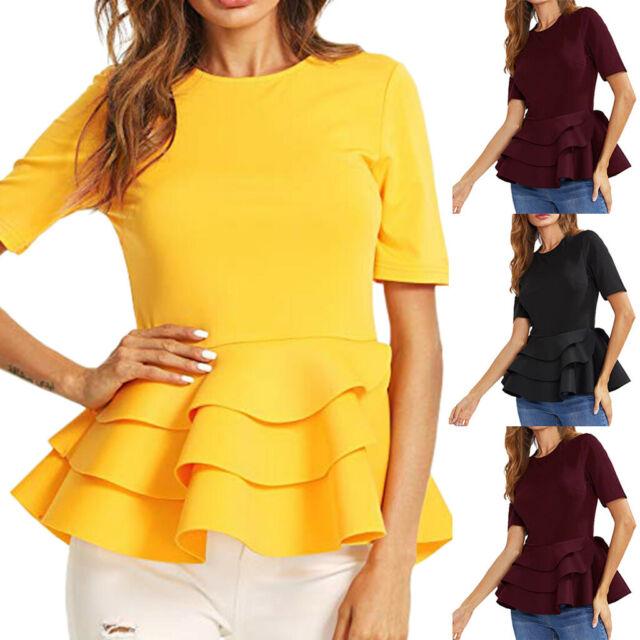 Women Round Neck Vintage Layered Ruffle Hem Fit Solid Peplum Blouse Shirt Top US