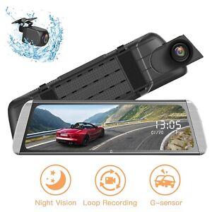 Campark-Touch-Mirror-10-034-Dual-Lens-Car-Dash-Cam-HD-1080P-Streaming-Backup-Camera