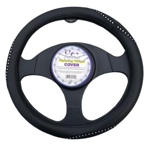 """Black Bling Crystal Rhinestone Car Steering Wheel Cover Universal 14.5/""""-15.5/"""""""