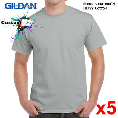 Ice Grey L Pack of 5 Gildan Mens Classic Heavy Cotton T-Shirt