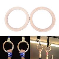 2x Wooden Ring Crossfit Gymnastics Rings Shoulder Strength Training Equipment Us