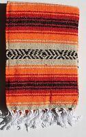 Mexican Falsa Blanket Tan,orange, Red & Black Aztec Stripes & White Fringe Xl