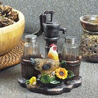 1 X Farm Chicken And Old Fashioned Water Pump Glass Salt And Pepper Shaker Set W on sale