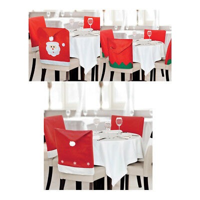 8 PACK Christmas Dining Chair Covers Santa Face Bobble Hat Felt Xmas Elf Decor