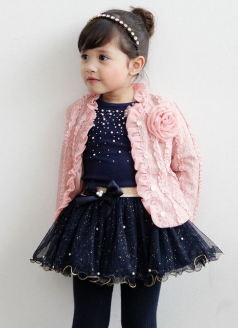 3pcs Baby Girl Coat+T-shirt+Skirt Dress Tutu Princess Clothes Set Suit Cardigan