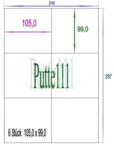 60 Klebe Etiketten 105 mm x 99 mm 10 Bogen