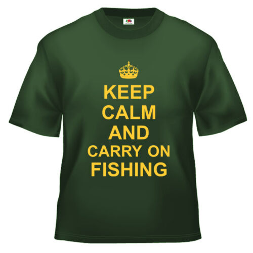 Funny Keep Calm and Carry on Fishing T Shirt 100/% cotton all sizes and colours