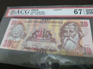 2014-HONDURAS-10-DIEZ-LEMPIRAS-Banknote-ACG-67EPQ