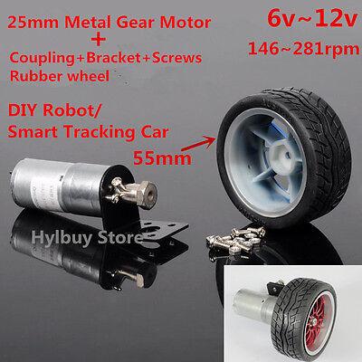 Metal Gear Motor Coupling Rubber Wheel DIY Smart tracking Car Robot DC 6v~12v