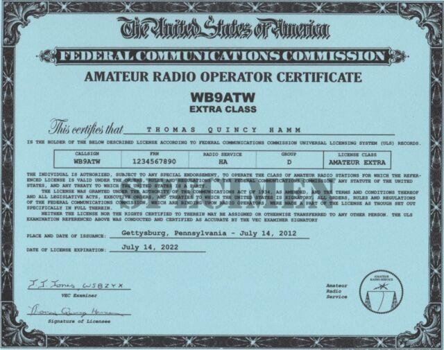Amateur Radio License Certificate *Ham Radio License Certificate* All Classes