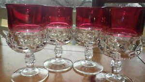 """Vintage Kings Crown Thumbprint Ruby Red Cranberry 5.75"""" Goblet water Glass 4 8oz"""