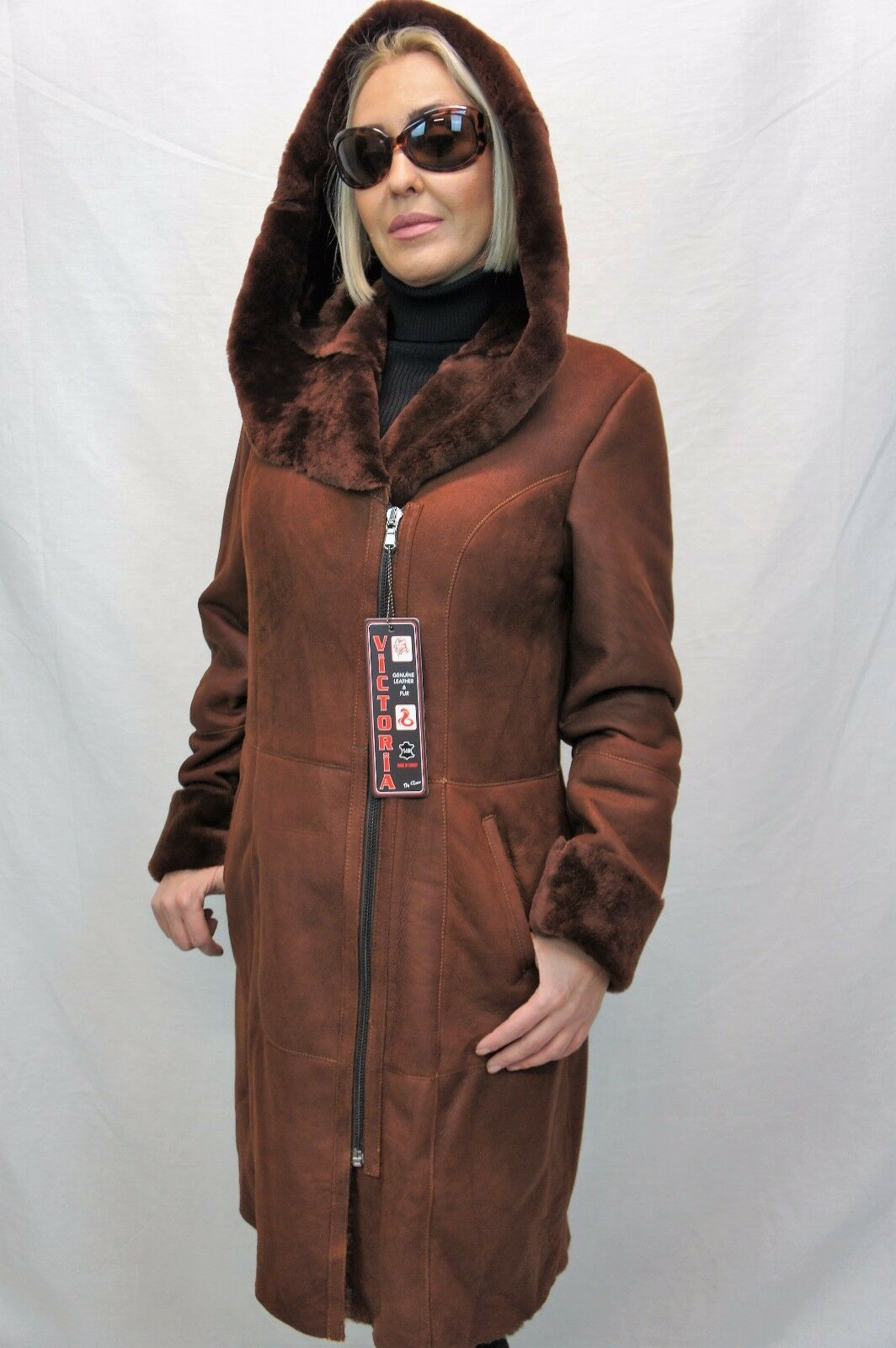 NEW 2018 100% GENUINE SHEEPSKIN Shearling Leather long Whiskey Coat Hood XS-6XL