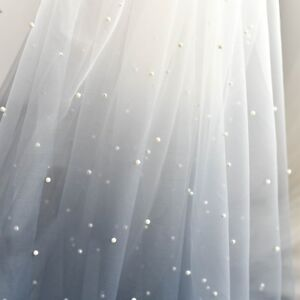 1M  navy color pearl beaded  tulle fabric 60\u201d wide
